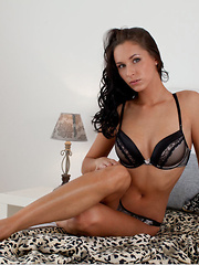 Diana G's matching lingerie accentuates her long, flexible body and perfectlt tanned complexion.